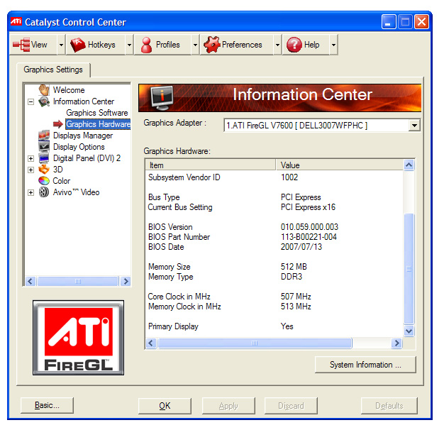 ATI FireGL V7600 512 MB Workstation Graphics Card