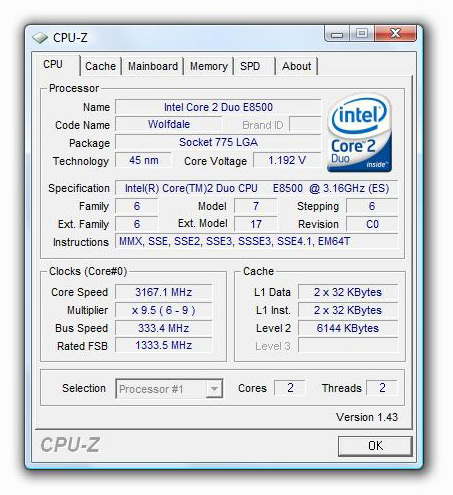 Intel Core 2 Duo E8500 Wolfdale CPU