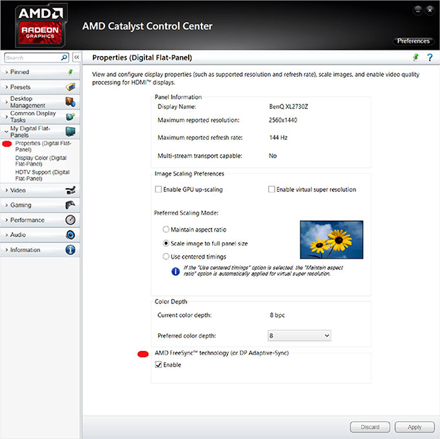 freesync option