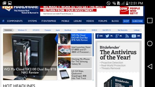 LG G4 Web Browser