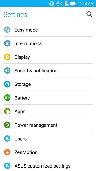 ASUS ZenFone 2 Settings