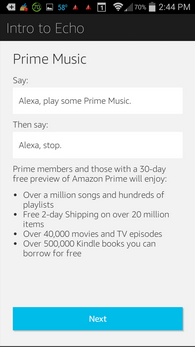 Amazon Echo prime music