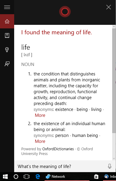 Windows 10 Cortana The Meaning Of Life