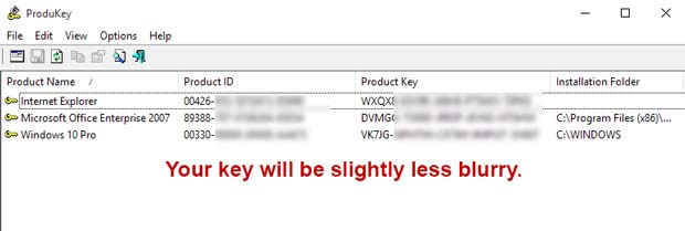Windows 10 Produkey Key Finder Third Column