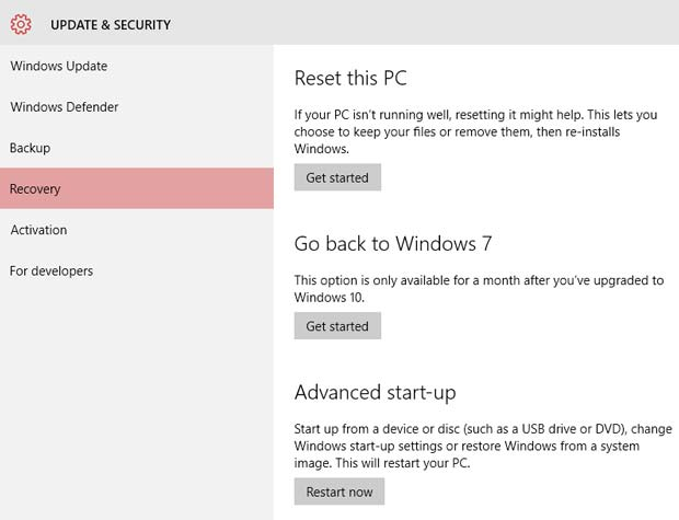Windows 10 Reset Recovery And Rollback