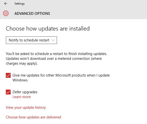 Windows 10 Schedule Updates