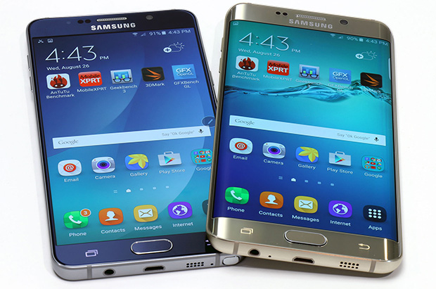 Galaxy Note 5 and Galaxy S6 Edge Plus front white