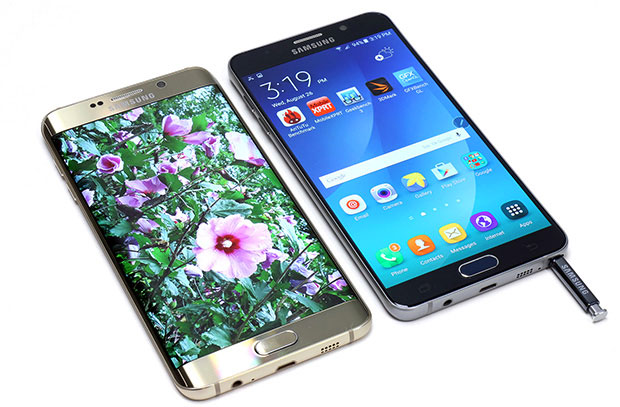Galaxy Note 5 and Galaxy S6 Edge front display