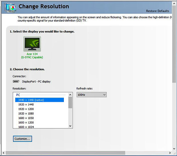 NVIDIA G Sync Driver Control Panel