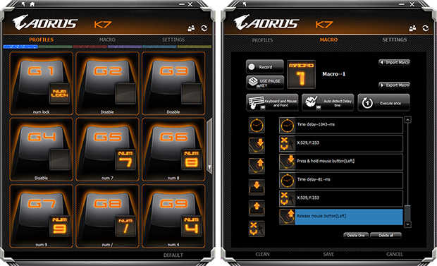 AORUS Thunder K7 Software