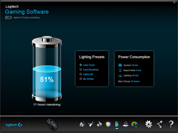 logitech gaming battery life