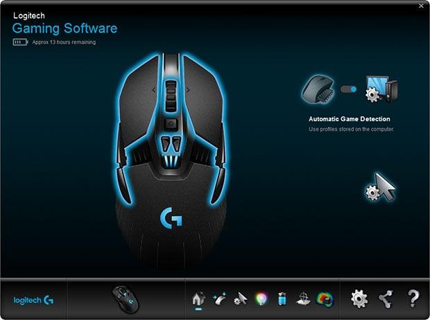 logitech gaming main screen