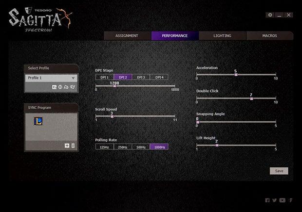 tesoro sagitta performance page