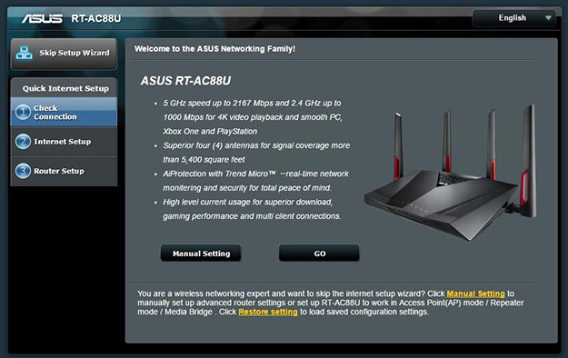 Asus rt ac88u ac3100 router review page 2 hothardware the setup process for the rt ac88u began all on its own once we connected everything we like that it gives you the option to configure everything manually greentooth Image collections