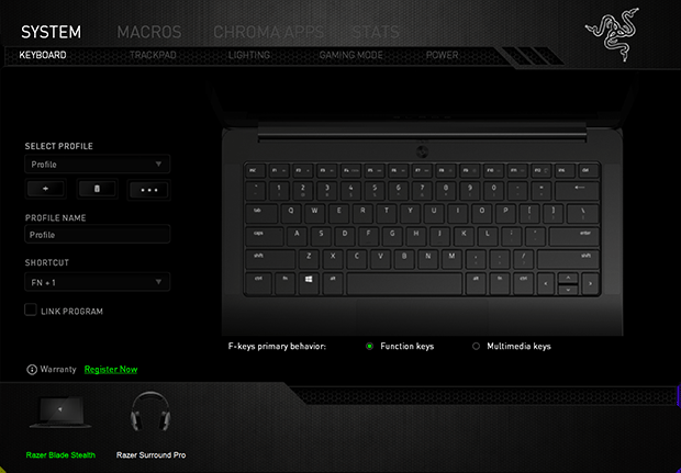 razer blade stealth configurator keyboard