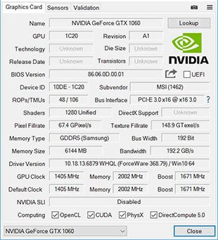 GPU Z 1060