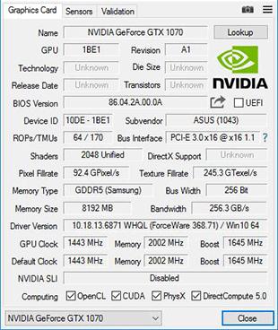 GPU Z 1070