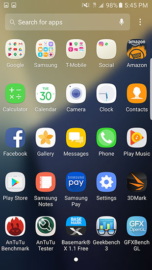 Galaxy Note 7 Apps Search
