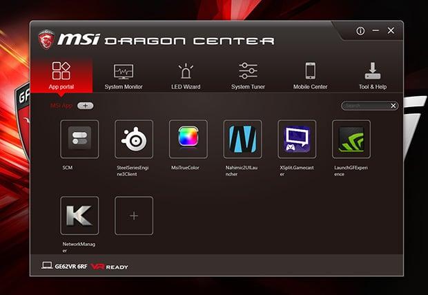 MSI GE62VR 6RF Apache Pro Dragon Center