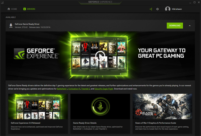 nvidia geforce experience update driver