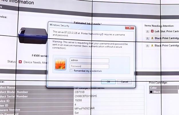 print security default passwords