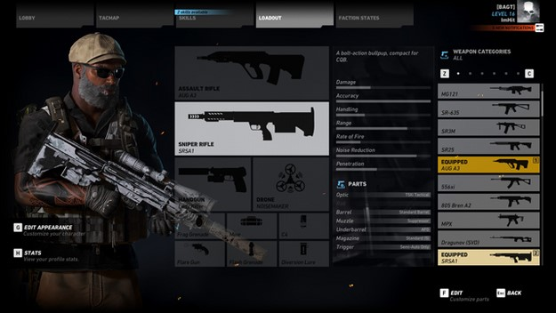 Ghost Recon Wildlands weapons loadout