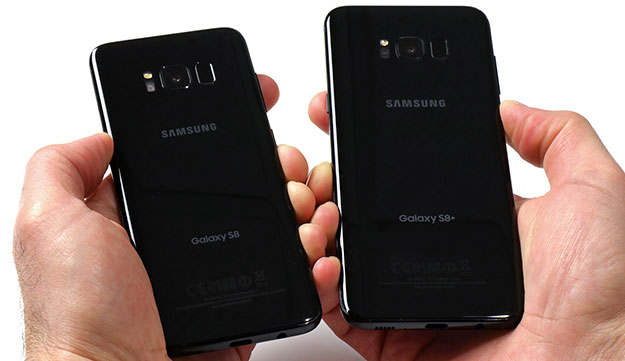 Galaxy S8 and Galaxy S8 Plus in hand backs