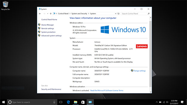 ThinkPad X1 Carbon 2017 Desktop