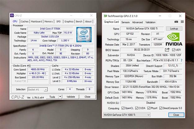 Origin PC Chronos CPU-Z and GPU-Z