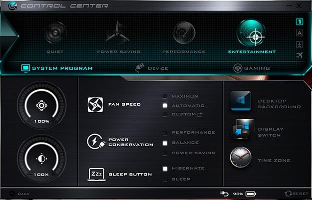 Origin PC EON15-S Control Center