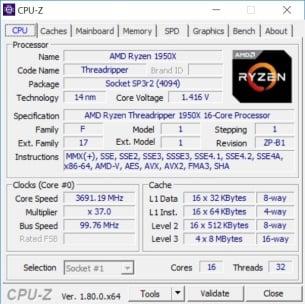 CPUZ 1950x 1
