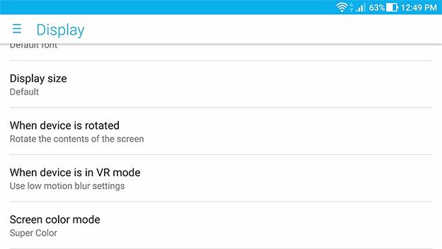 ASUS ZenFone AR Display Settings