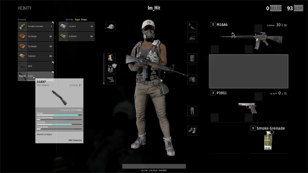 Battlegrounds inventory