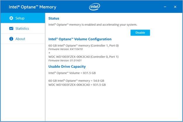intel optane memory softawre