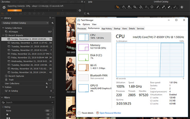 Spectre Folio Capture One CPU Utilization
