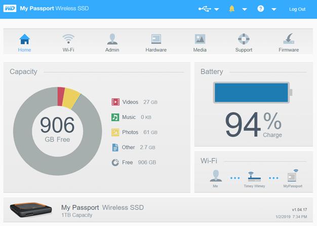 my passport wireless ssd desktop webpage