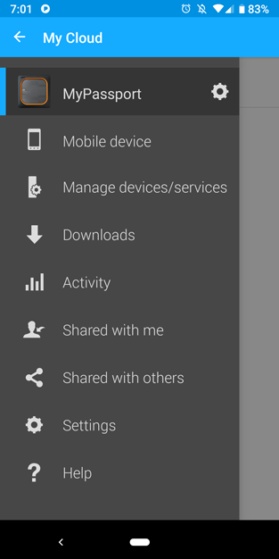 my passport wireless ssd my cloud slide out menu initial