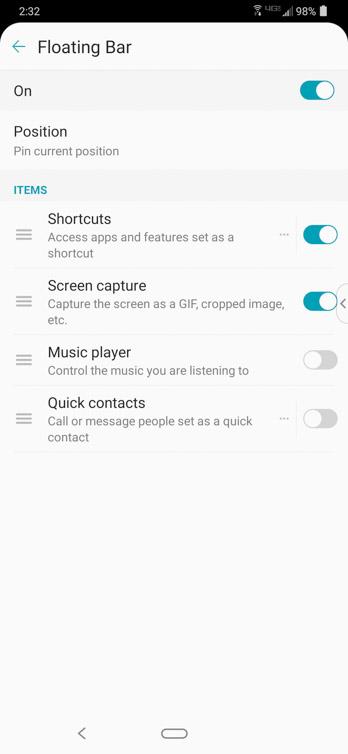 lg g8 thinq ss floating bar settings