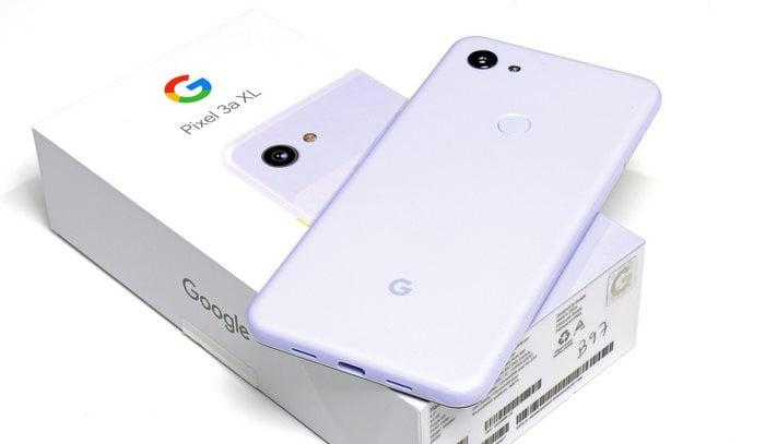 Google Pixel 3a XL on box purplish
