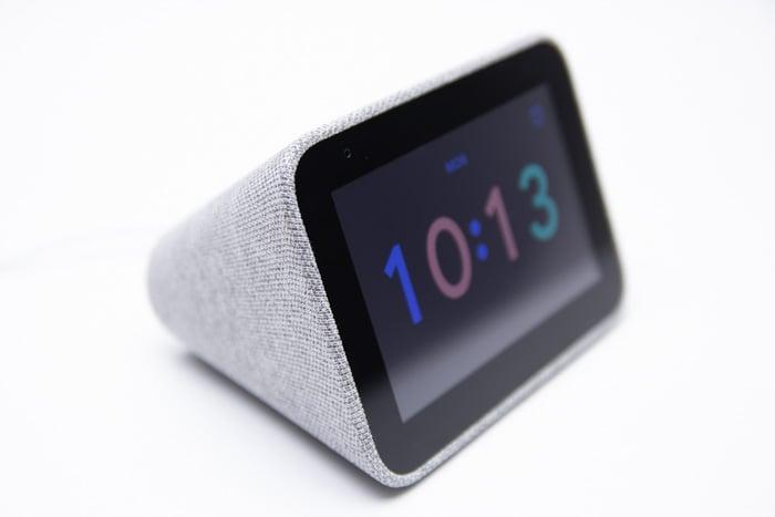 lenovo smart clock google assistant grey cloth