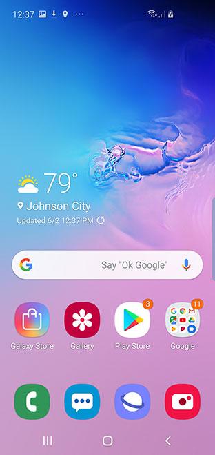 Samsung Galaxy S10e Homescreen