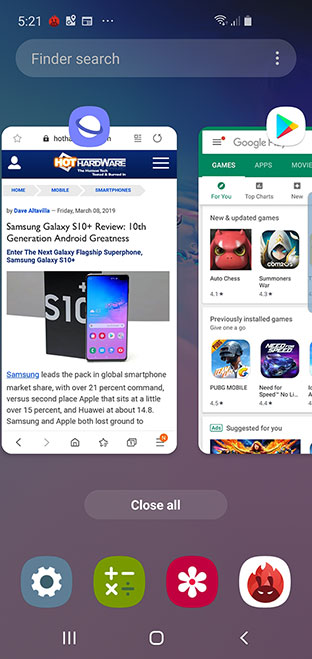 Samsung Galaxy S10e Recent Apps