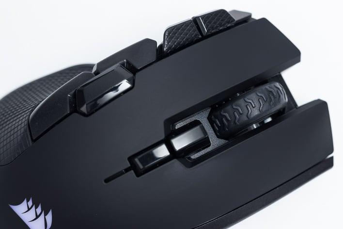 corsair ironclaw wireless rgb top closeup