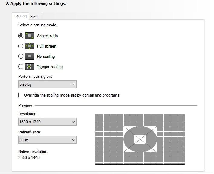nvidia default scaling control panel