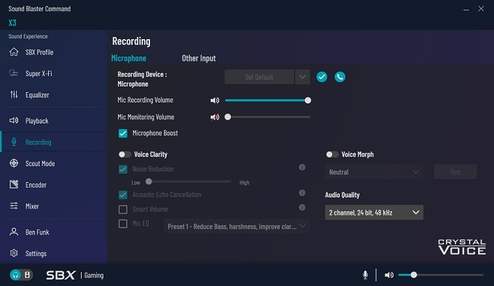 recording options sound blaster x3
