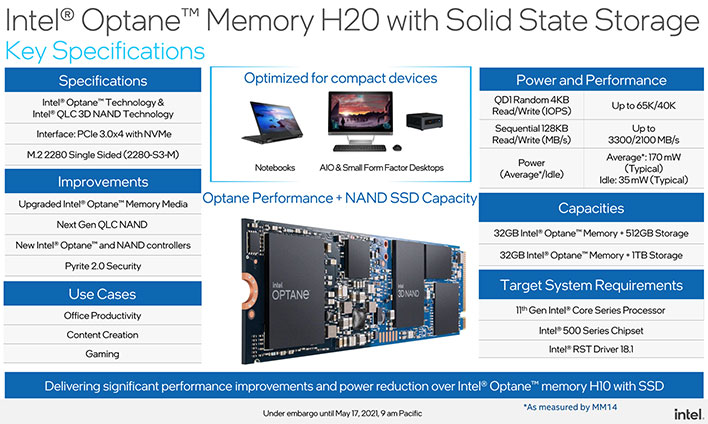 intel optane h20 specifications