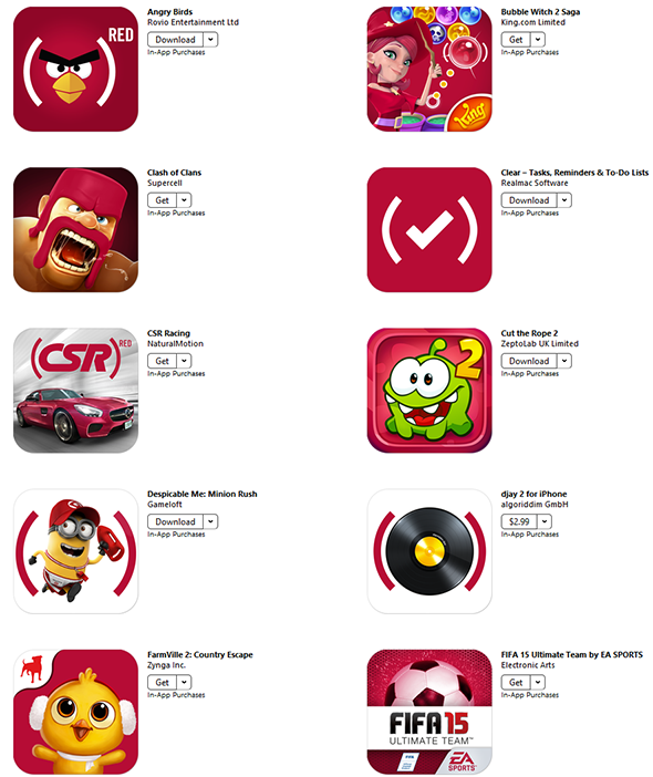 Apple has lots of (RED) apps for the next two weeks to help raise money for the fight against AIDS.