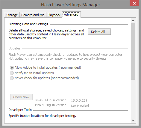 Adobe Flash Player Settings