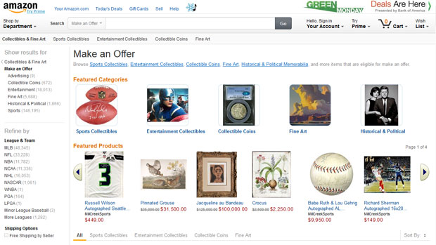 Amazon wants you to negotiate a price on certain collectibles and fine art with the Make An Offer button.