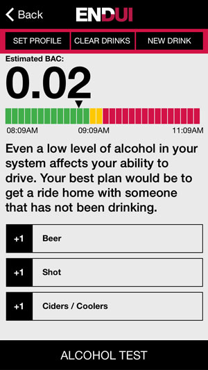 The app warns users not to mistake it for a breathalyzer test. It isn't one.